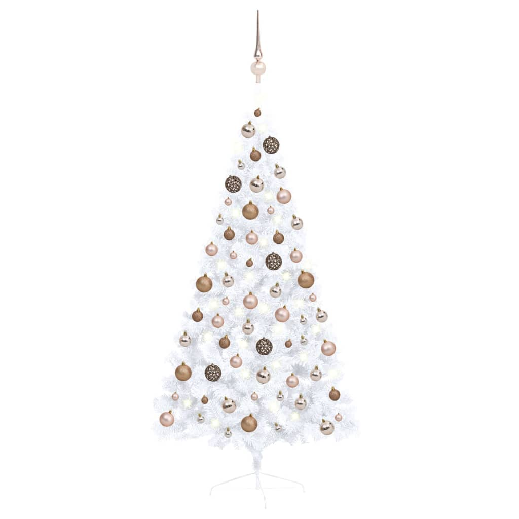 Künstlicher Halber Weihnachtsbaum mit LEDs & Kugeln Weiß 150 cm