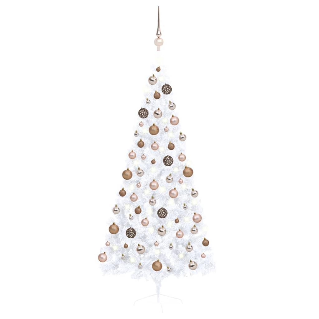 Künstlicher Halber Weihnachtsbaum mit LEDs & Kugeln Weiß 180 cm