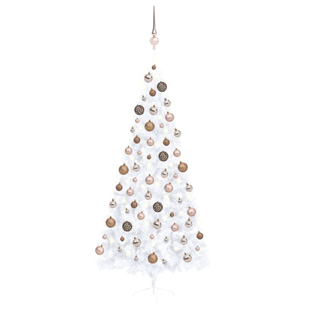 Künstlicher Halber Weihnachtsbaum mit LEDs & Kugeln Weiß 210 cm