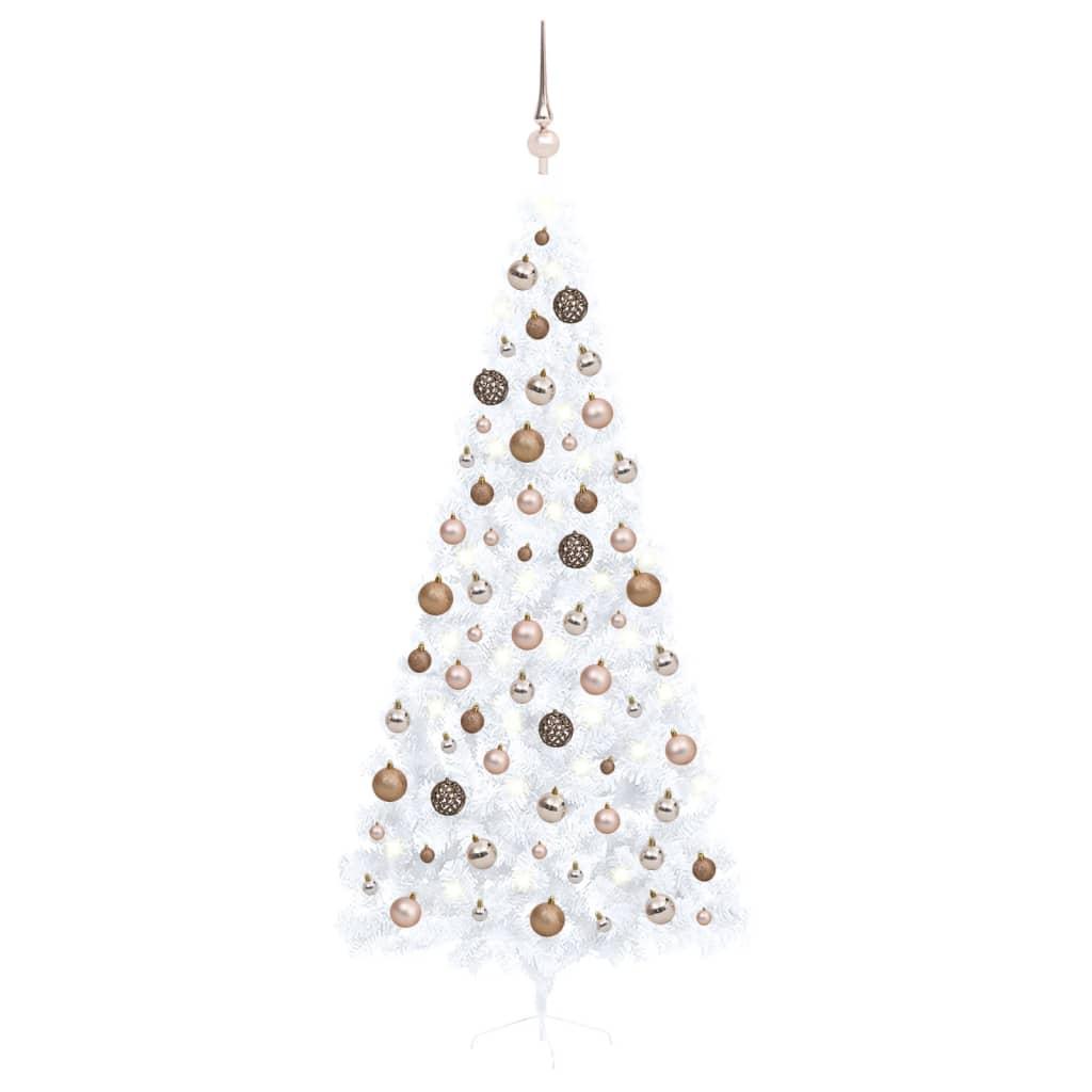 Künstlicher Halber Weihnachtsbaum mit LEDs & Kugeln Weiß 240 cm