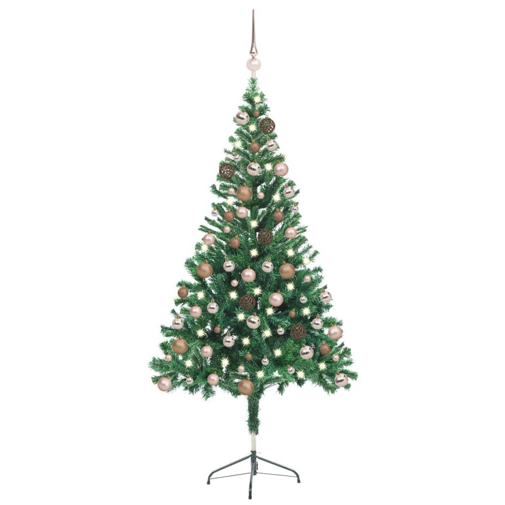 Künstlicher Weihnachtsbaum mit LEDs & Kugeln 150 cm 380 Zweige