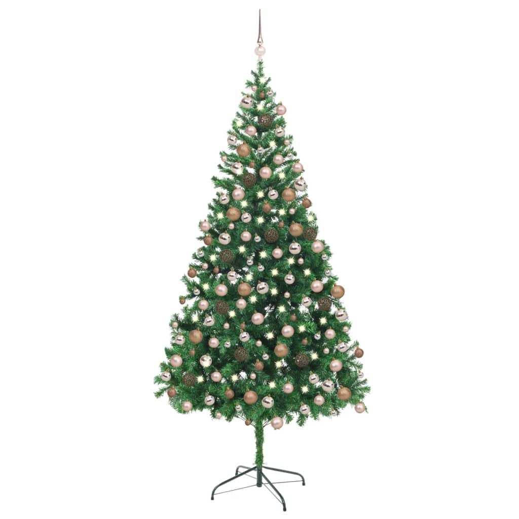 Künstlicher Weihnachtsbaum mit LEDs & Kugeln 210 cm 910 Zweige