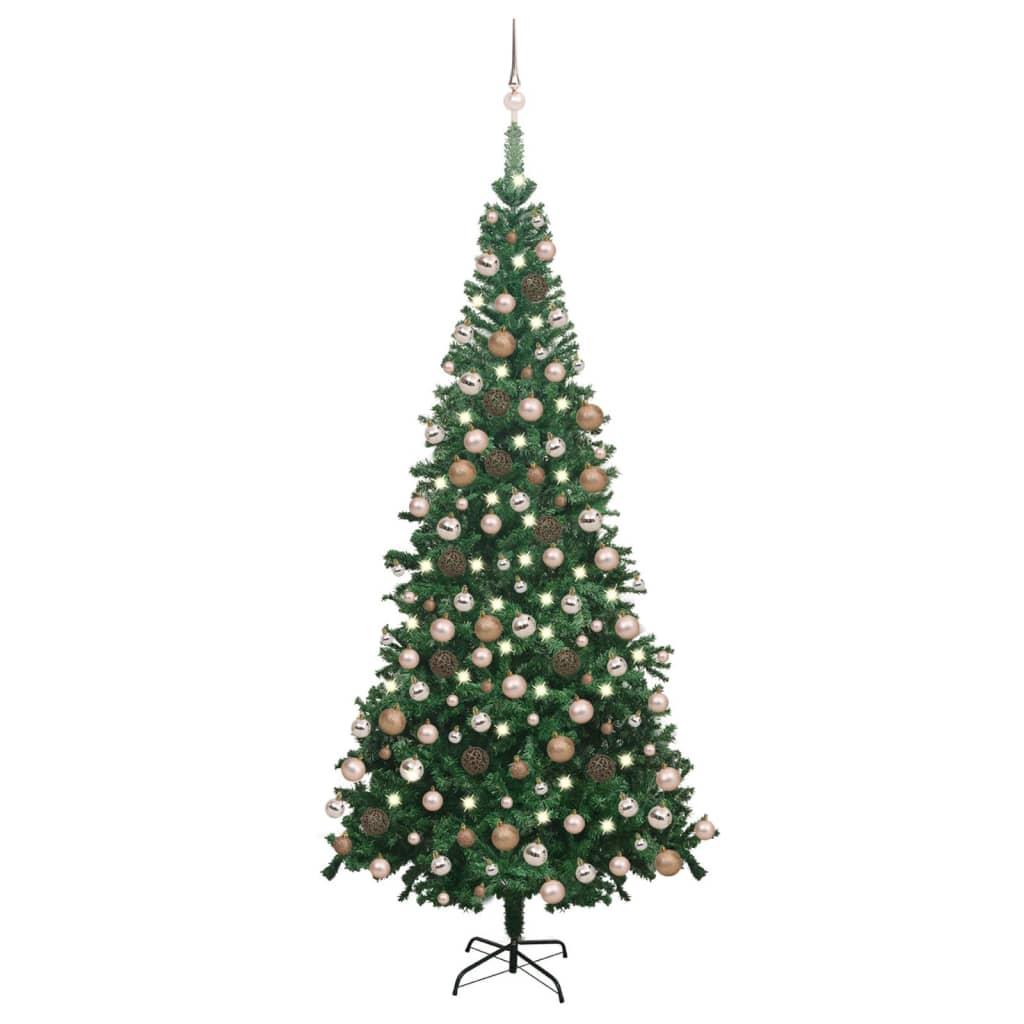 Künstlicher Weihnachtsbaum mit LEDs & Kugeln L 240 cm Grün