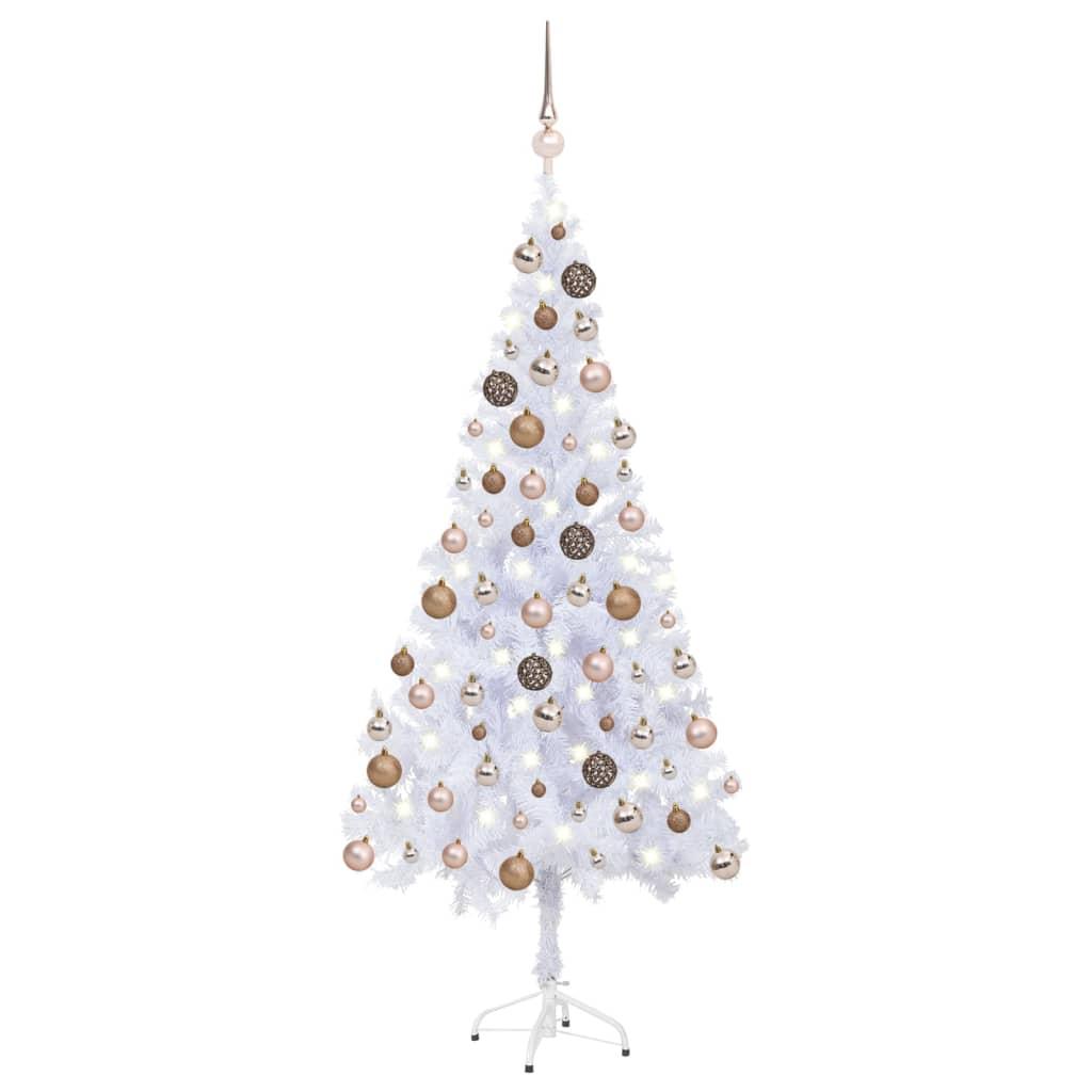 Künstlicher Weihnachtsbaum mit LEDs & Kugeln 180 cm 620 Zweige