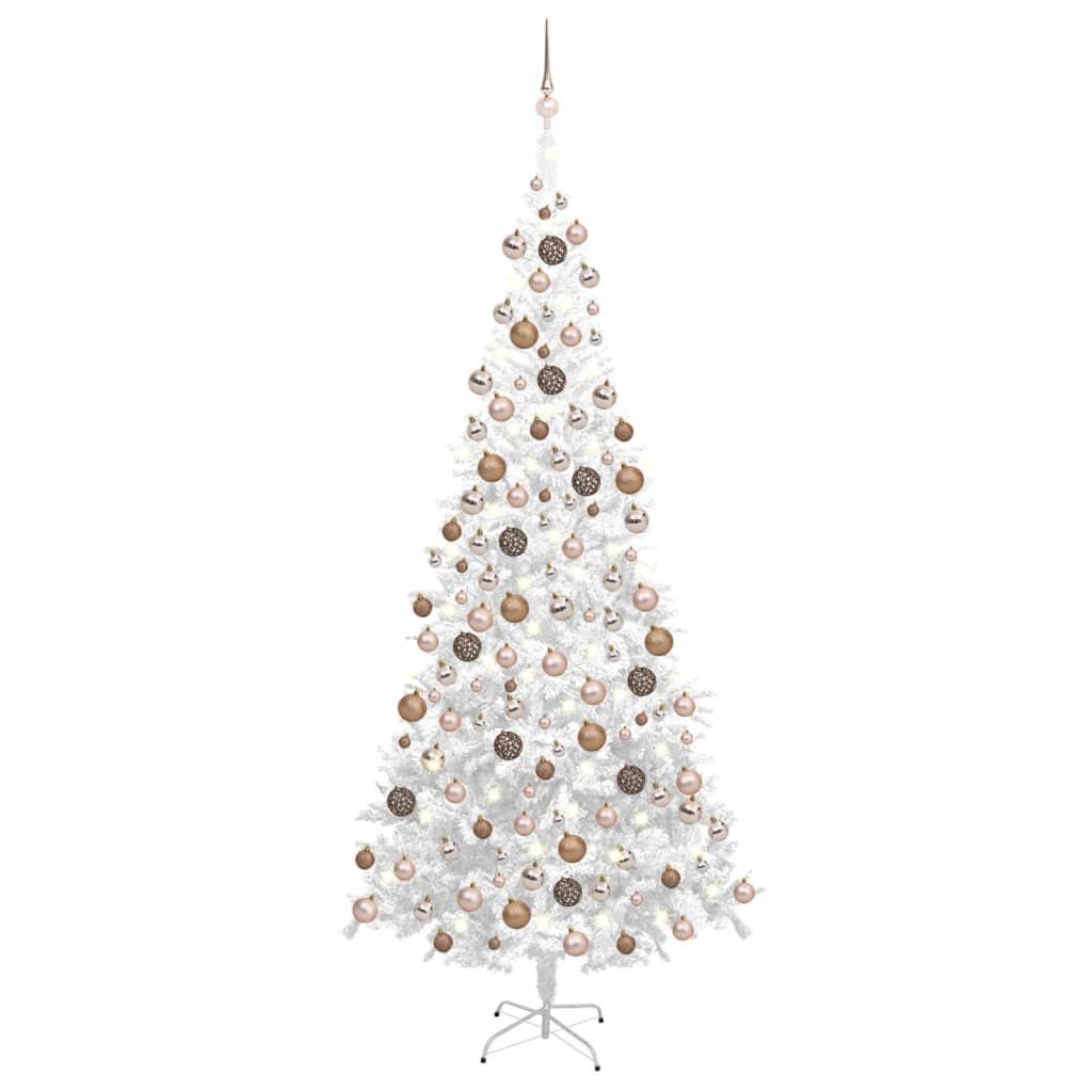Künstlicher Weihnachtsbaum mit LEDs & Kugeln L 240 cm Weiß