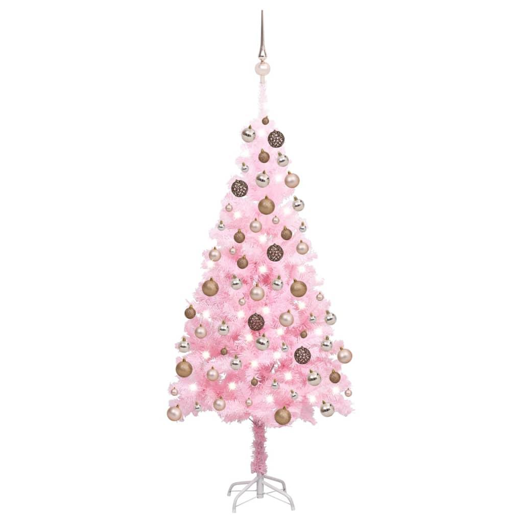Künstlicher Weihnachtsbaum mit LEDs & Kugeln Rosa 150 cm PVC