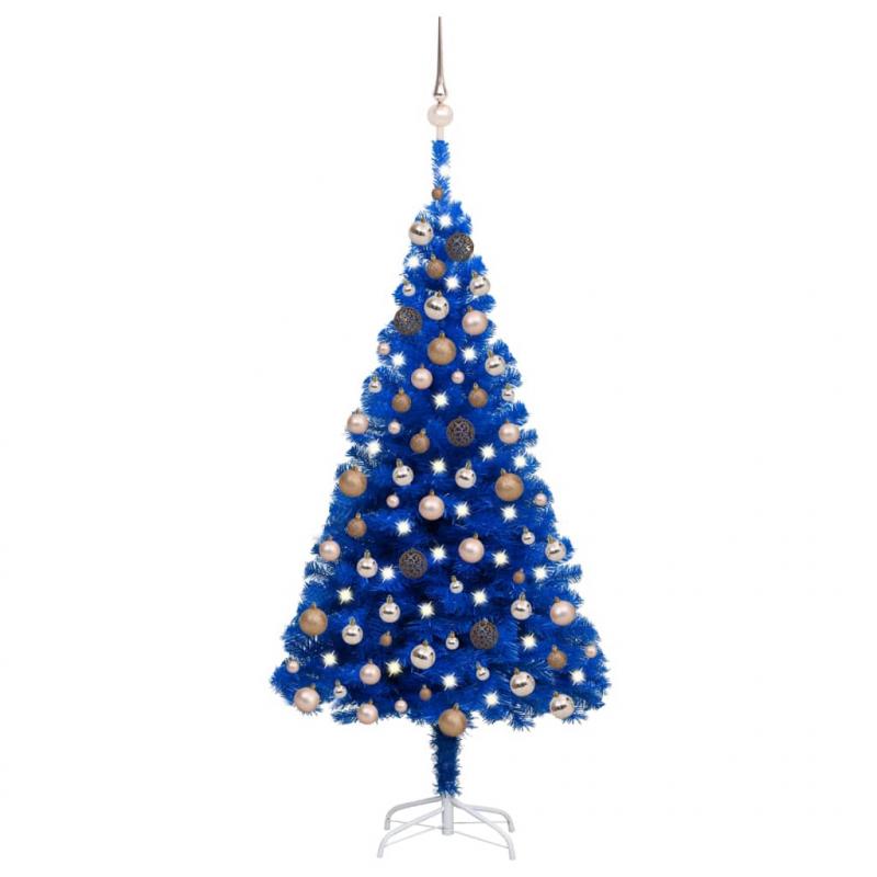 Künstlicher Weihnachtsbaum mit LEDs & Kugeln Blau 150 cm PVC