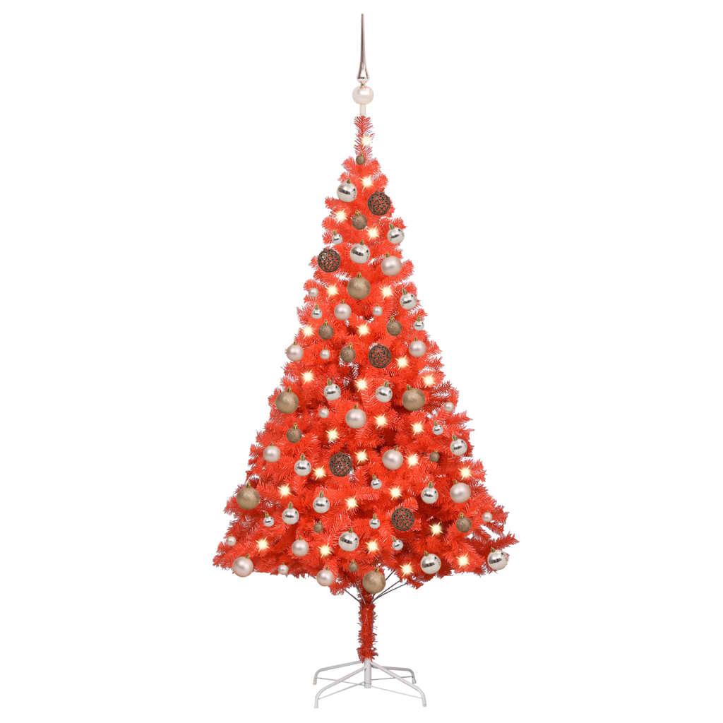 Künstlicher Weihnachtsbaum mit LEDs & Kugeln Rot 180 cm PVC