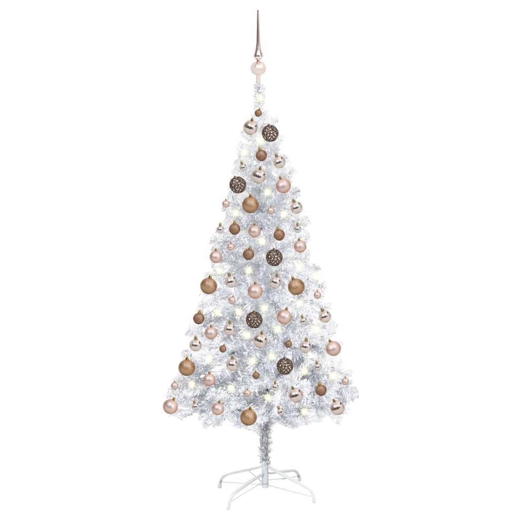 Künstlicher Weihnachtsbaum mit LEDs & Kugeln Silbern 150cm PET