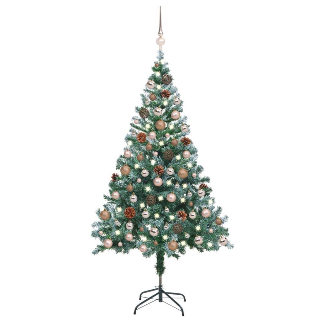 Weihnachtsbaum Gefrostet mit LEDs Kugeln Zapfen Set 150 cm