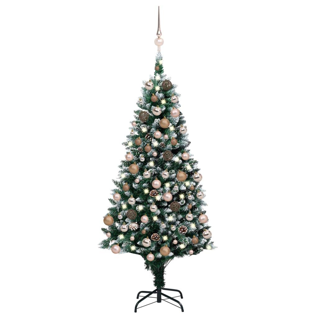 Künstlicher Weihnachtsbaum mit LEDs Kugeln Zapfen 180 cm