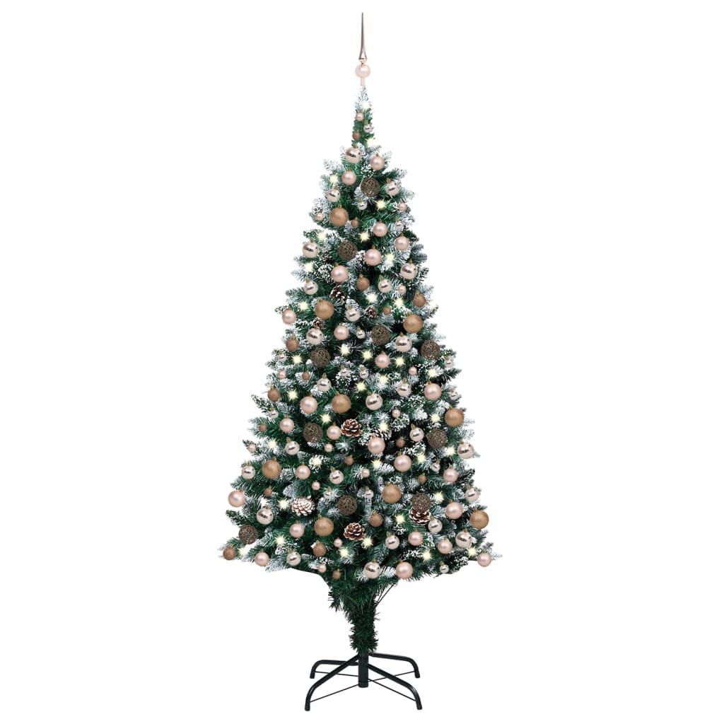 Künstlicher Weihnachtsbaum mit LEDs Kugeln Zapfen 210 cm