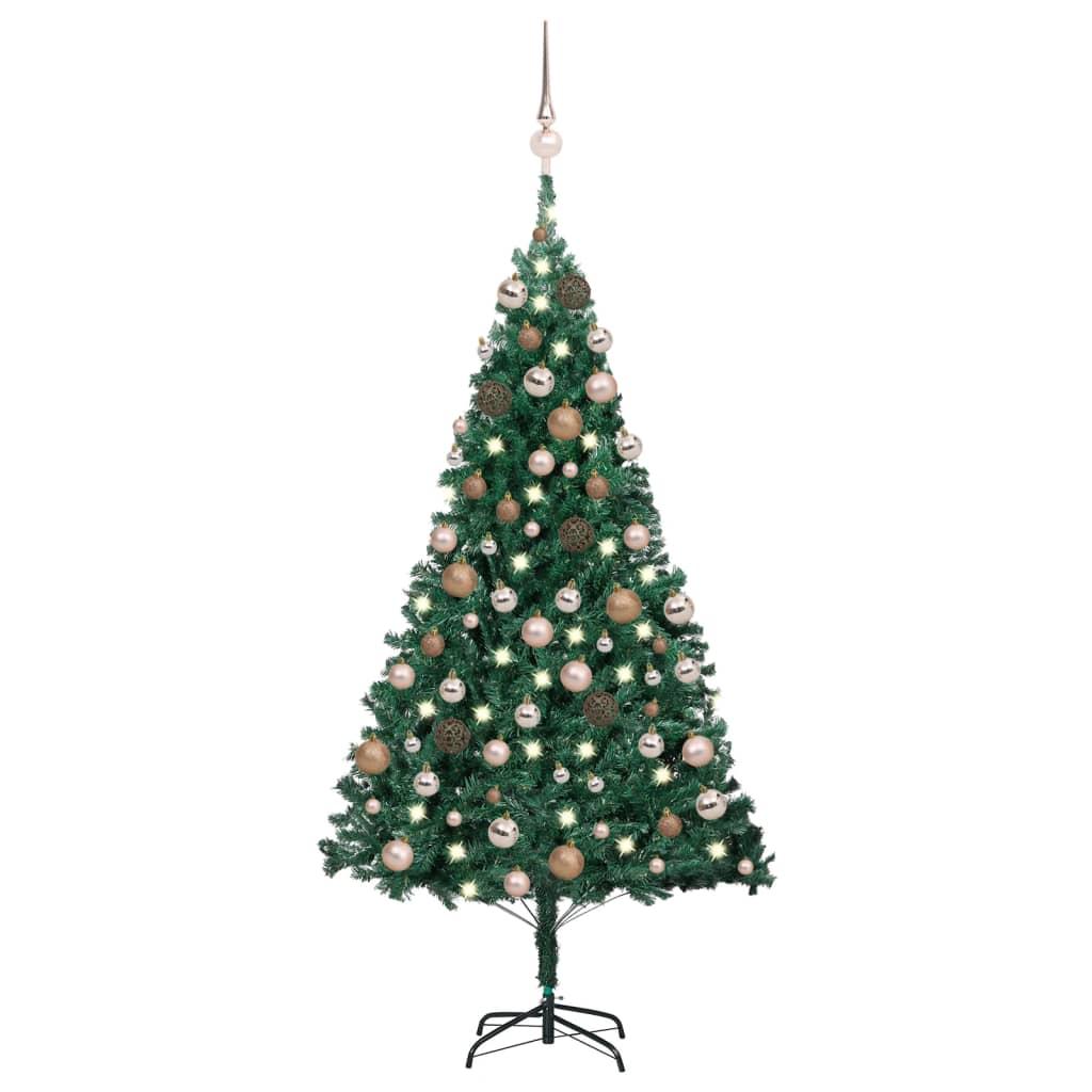 Künstlicher Weihnachtsbaum mit LEDs & Kugeln Grün 120 cm PVC