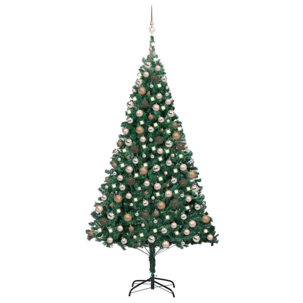 Künstlicher Weihnachtsbaum mit LEDs & Kugeln Grün 210cm PVC