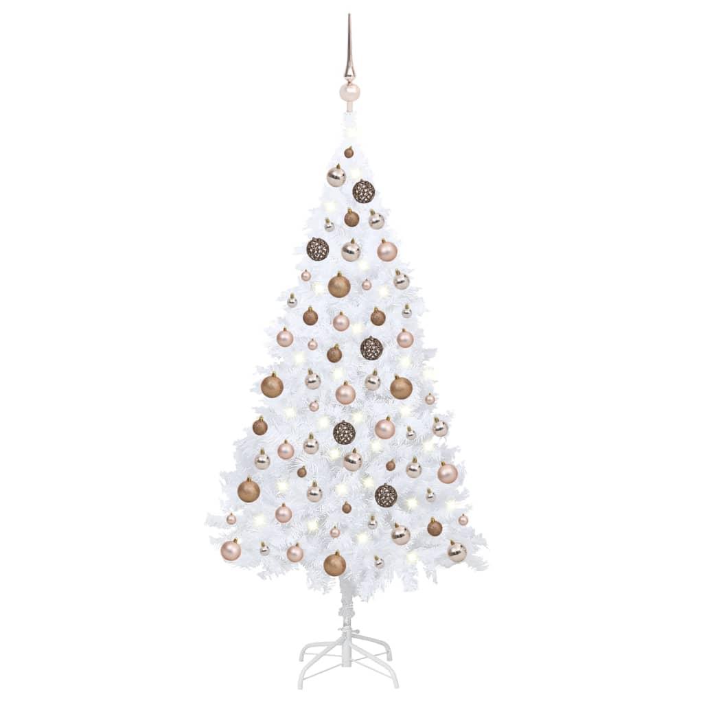 Künstlicher Weihnachtsbaum mit LEDs & Kugeln Weiß 120 cm PVC