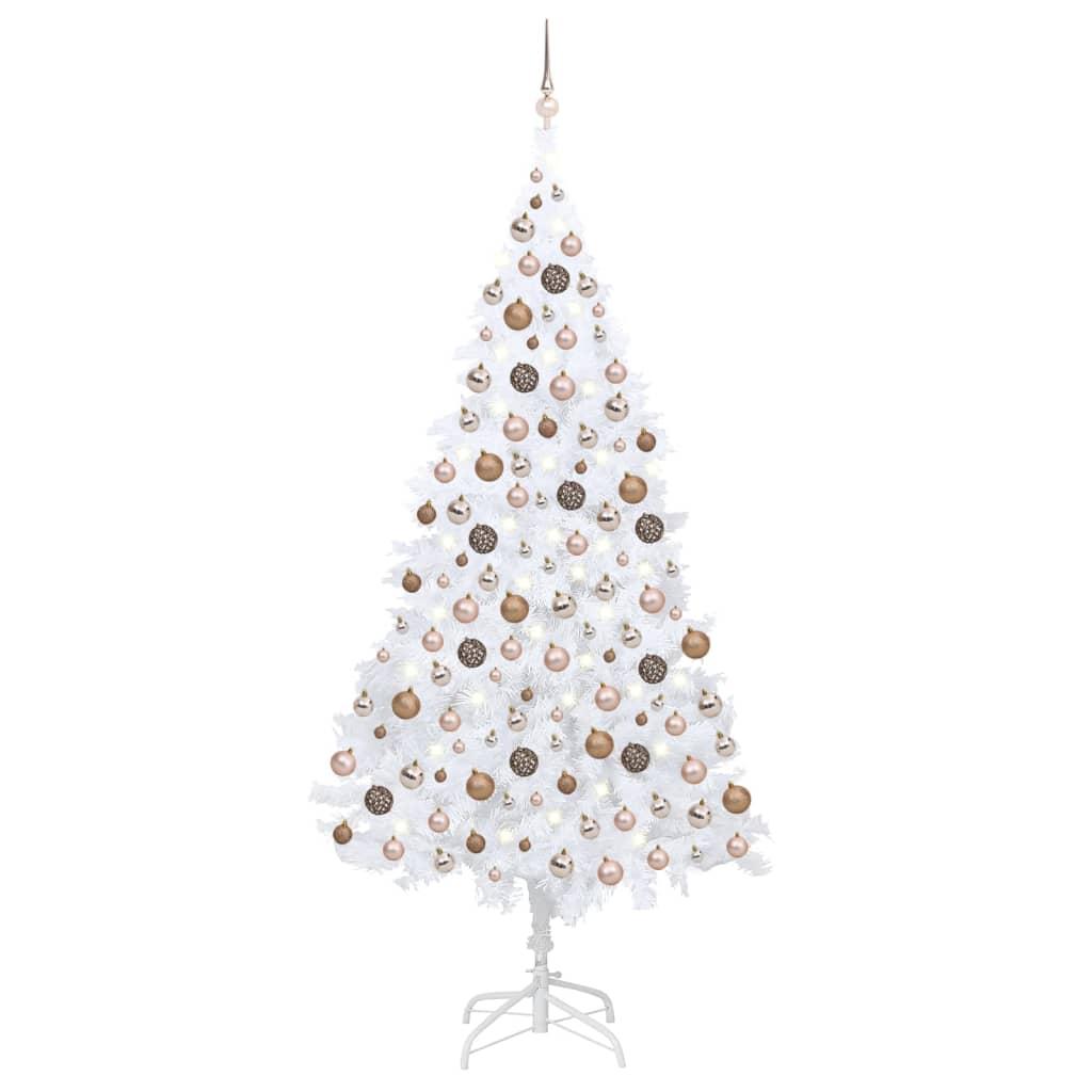 Künstlicher Weihnachtsbaum mit LEDs & Kugeln Weiß 210 cm PVC