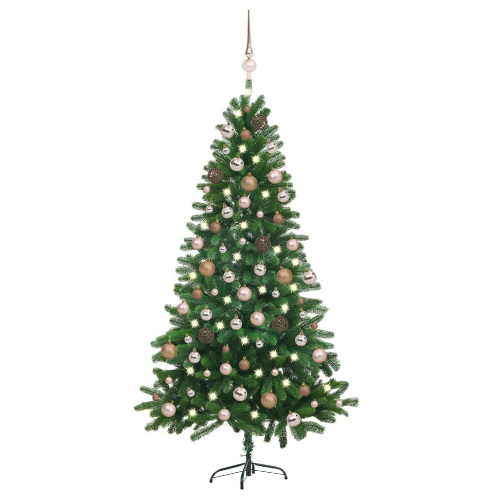 Künstlicher Weihnachtsbaum mit LEDs & Kugeln 180 cm Grün