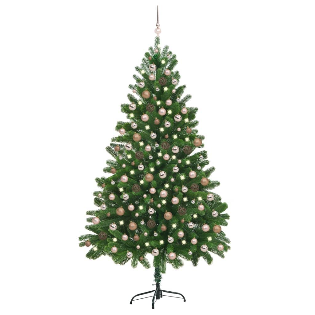 Künstlicher Weihnachtsbaum mit LEDs & Kugeln 210 cm Grün