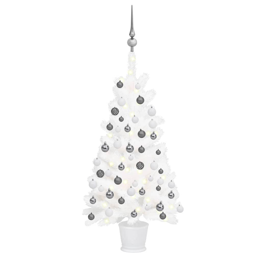 Künstlicher Weihnachtsbaum mit LEDs & Kugeln Weiß 65 cm