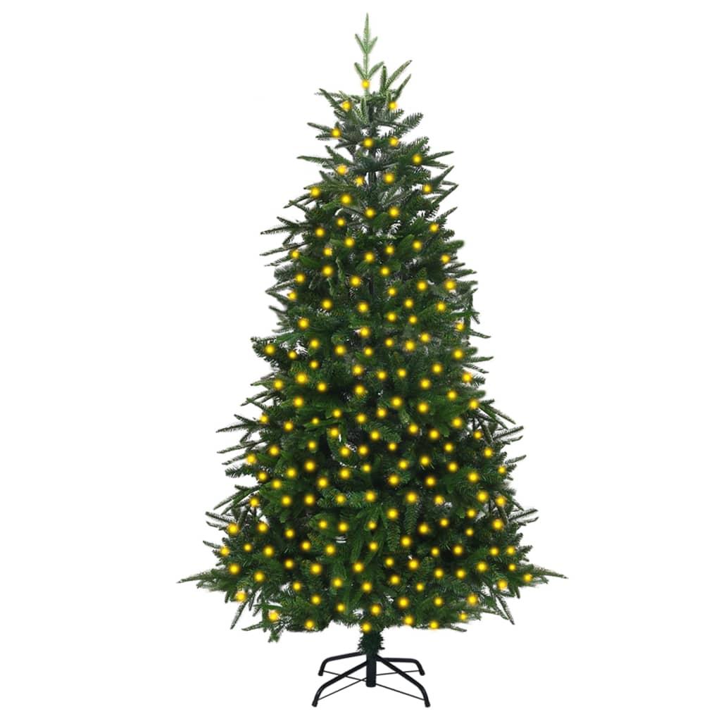 Künstlicher Weihnachtsbaum mit LEDs Grün 210 cm PVC & PE
