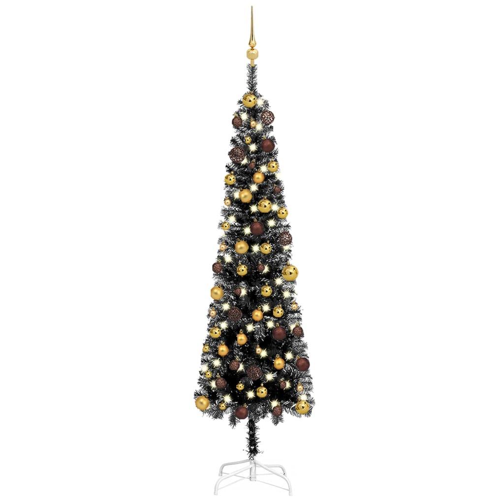Weihnachtsbaum Schlank mit LEDs & Kugeln Schwarz 180 cm