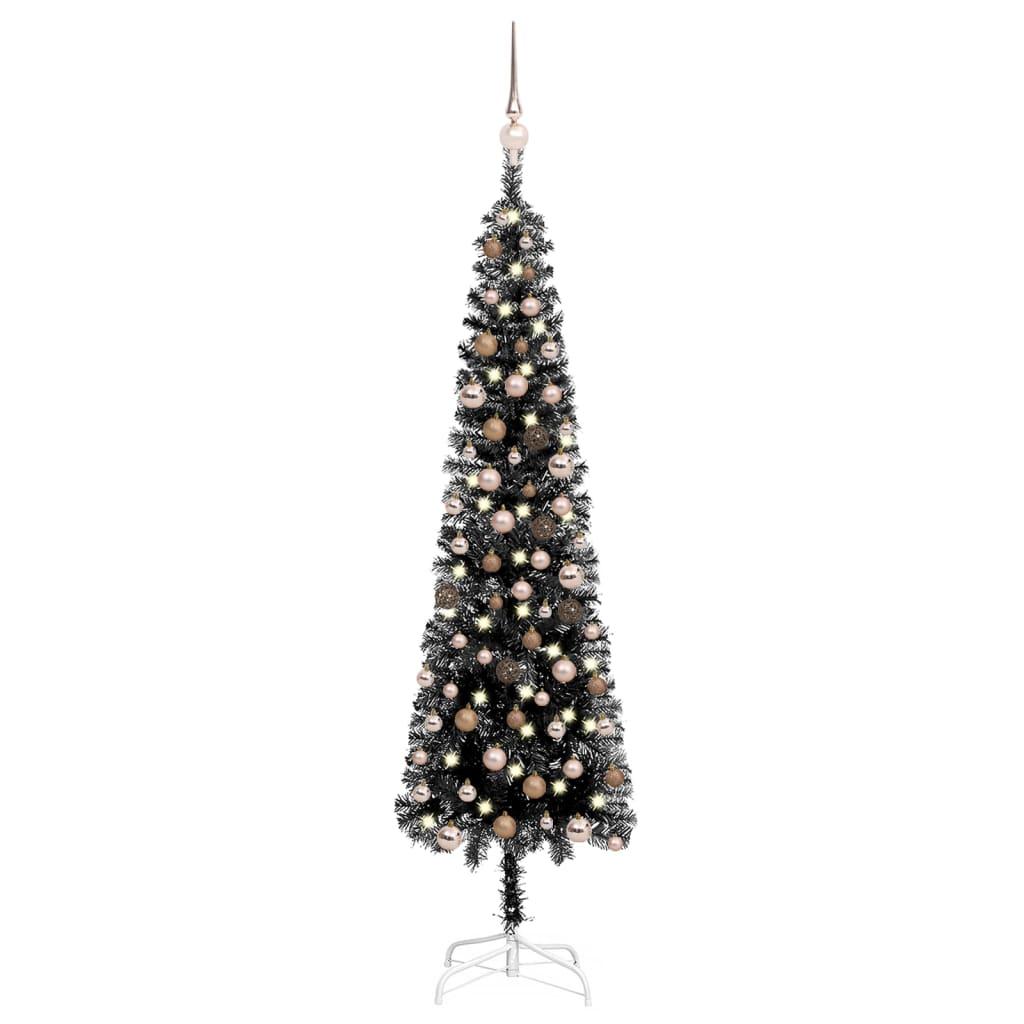 Schlanker Weihnachtsbaum mit LEDs & Kugeln Schwarz 180 cm