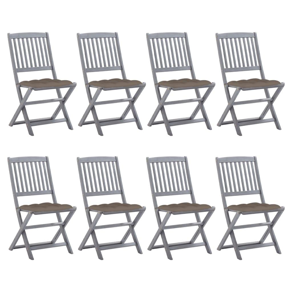 Klappbare Gartenstühle 8 Stk. mit Kissen Massivholz Akazie
