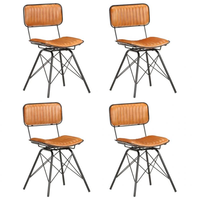 Esszimmerstühle 4 Stk. Schwarz und Braun Echtes Ziegenleder