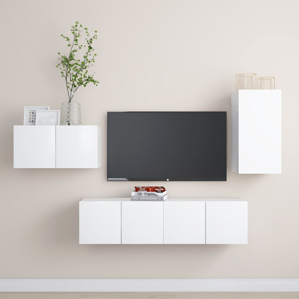 4-tlg. TV-Schrank-Set Weiß Spanplatte