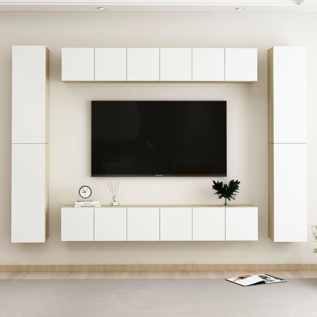 10-tlg. TV-Schrank-Set Weiß Sonoma-Eiche Spanplatte