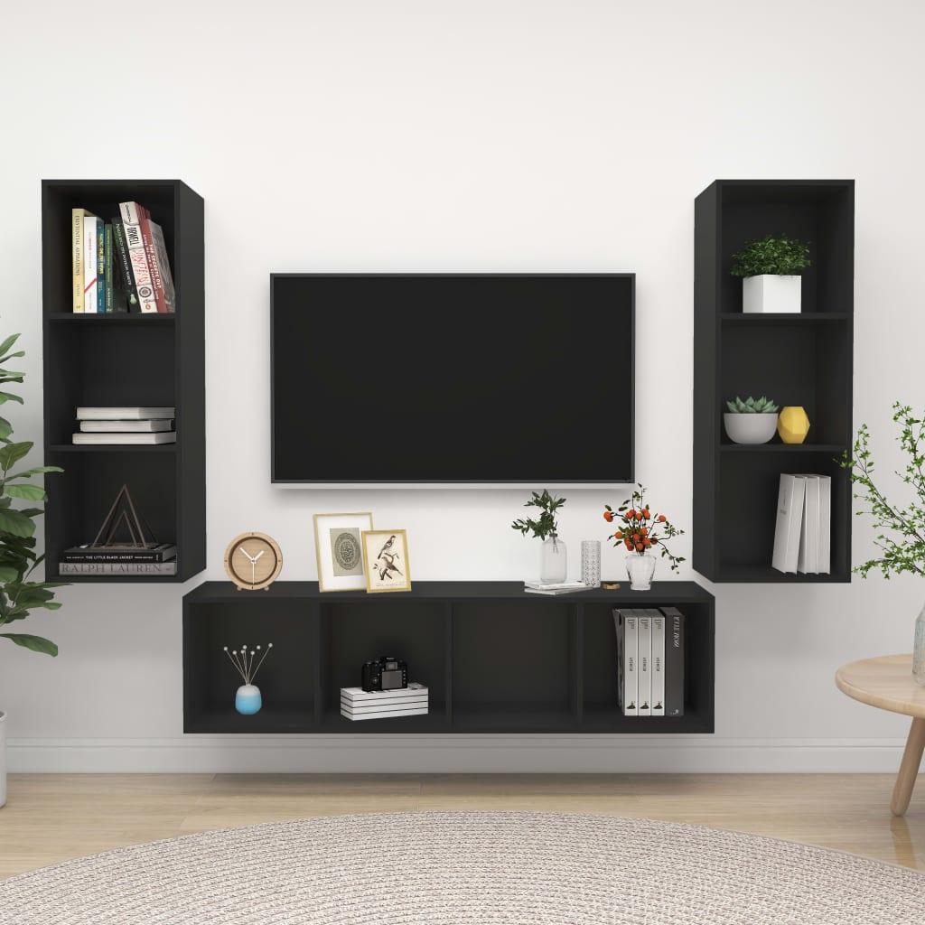 3-tlg. TV-Schrank-Set Schwarz Spanplatte
