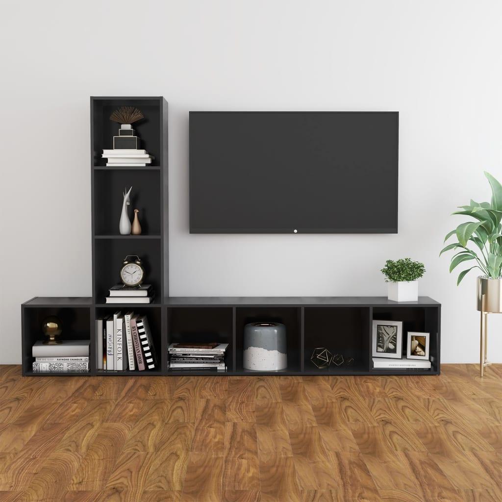 3-tlg. TV-Schrank-Set Grau Spanplatte