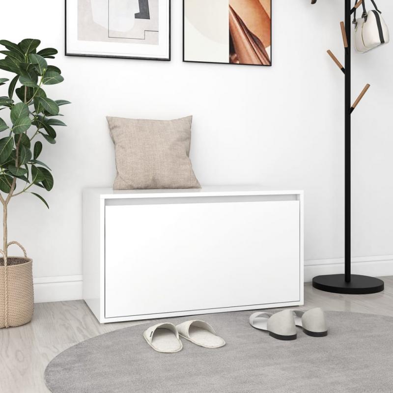 Flurbank 80x40x45 cm Spanplatte Weiß